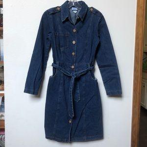 Vintage denim long sleeve jean dress